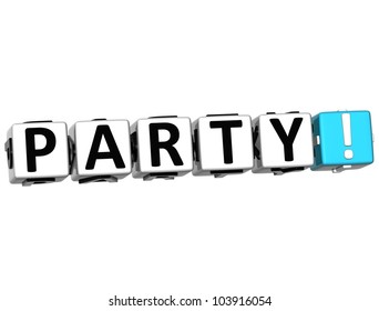 3D Party Button on white background