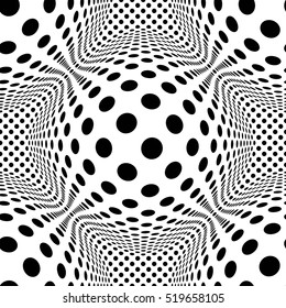 3d pattern with mosaic of squares with bulging distortion effect. Protuberant volumetric background.Monochrome geometric pattern. Abstract seamless pattern of group curved elements
