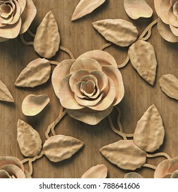 3d, pattern with roses, wood texture, seamless