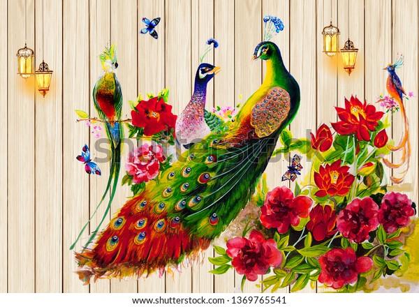 3d Peacock Wallpaper Stock Illustration 1369765541