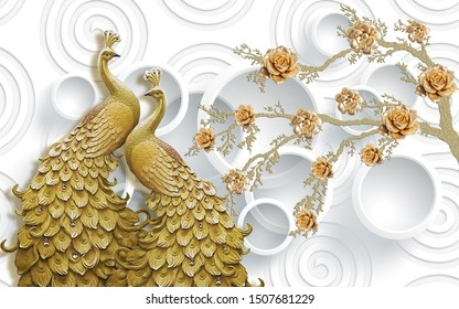 3d peacock wallpaper- 3D ILLUSTRATION