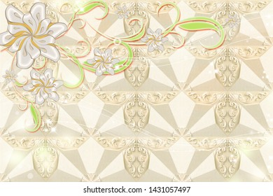 3D PEARL FINISH FLOWER WITH GOLDEN BACKGROUND-ILLUSTRATION