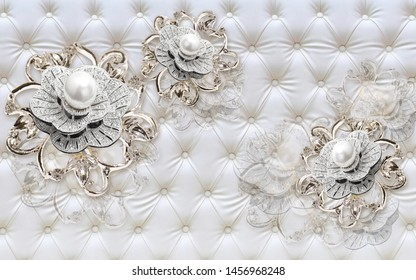 3D pearl jewellery background, wallpaper for walls.