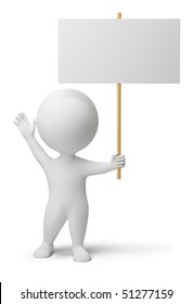 3d people with the blank announcement in hands. 3d image. Isolated white background.