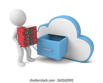 3d people with file storage and cloud. Cloud computing concept. 3d image. Isolated white background