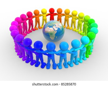 3d people - human character in circle and earth globe. 3d render illustration