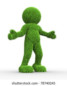 3d people- human character covered with grass. 3d render illustration