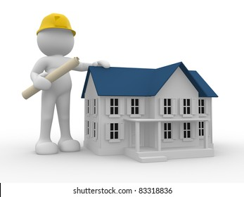 3d people- human character - engineer and house. 3d render illustration