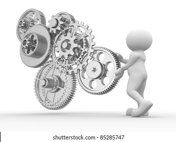 3d people - human character and gear mechanism. 3d render illustration