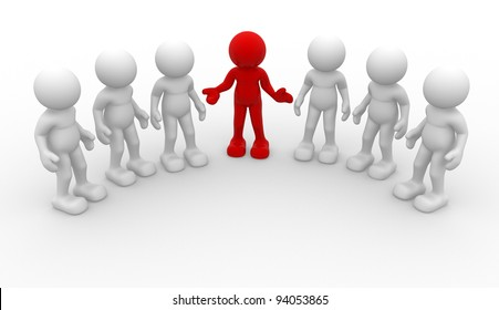 3d people -human character, group of person. Leadership and team - This is a 3d render illustration