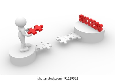 3d people - human character - person.  Last  jigsaw ( puzzle ) and word success . 3d render illustration
