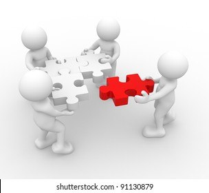 3d people - human character - person  and a  jigsaw ( puzzle ) . 3d render illustration