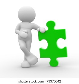 3d people - human character , person with a puzzle piece ( jigsaw ). 3d render illustration
