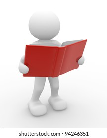 3d people - human character, person with a open book. 3d render