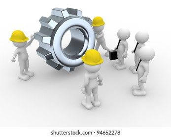 3d people - human character, person with a helmet and gear mechanism. Workers and team leadership. 3d render