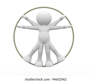 3d people - human character, person,  vitruvian man. 3d render