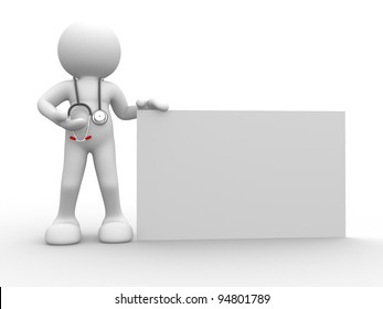 3d people - human character, person with a blank banner.  Doctor with a stethoscope. 3d render