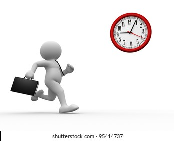 3d people - human character, person with briefcase run time. Businessman and a clock. 3d render