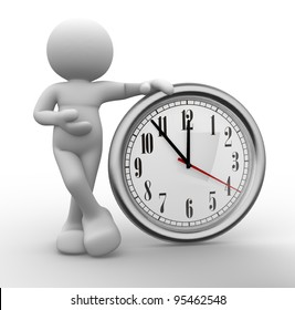 3d people - human character, person  and a clock. 3d render