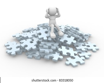 3d people - human character sits over on a pile of puzzle pieces. 3d render illustration