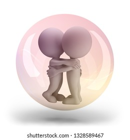 3d people in love fly in a pink transparent ball. 3d image. White background.