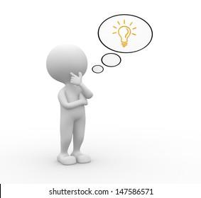 3 D Man Thinking Idea Bulb Thought Stock Illustration 131257172
