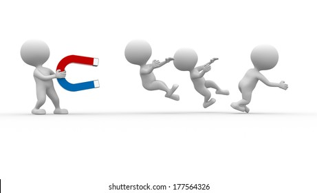 3d people - man, person capturing with magnet other person.  Horseshoe