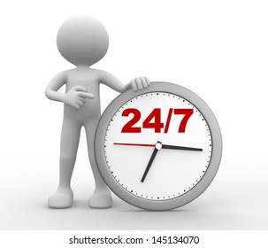 """3d people - man, person with a clock  and text """" 24/7 """""""