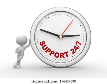 """3d people - man, person with a clock and text """"support 24/7 """""""