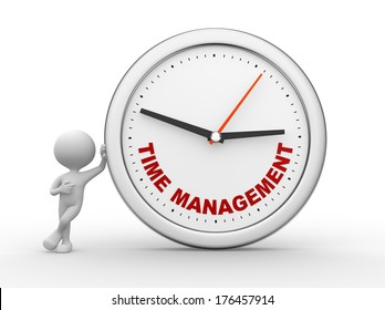 """3d people - man, person with a clock and text """"time to management"""""""
