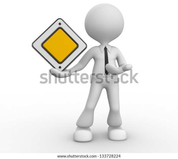3d people - man, person with a empty warning priority sign.