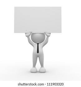 3d people - man, person holding a blank board.