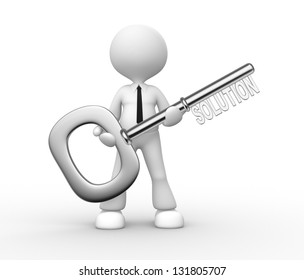 """3d people - man, person holding key with word """"solution"""""""