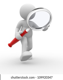 3d people - man, person with magnifying glass