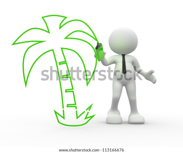 3d People Man Person Palm Tree Stock Illustration 113166676