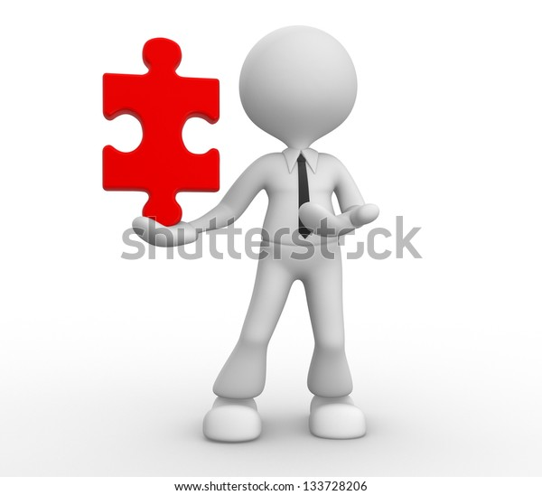 3d people - man, person with a piece of puzzle ( jigsaw ).