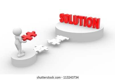 """3d people - man, person with pieces of puzzle and word """"Solution"""""""