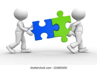 3d people -man, person with pieces jigsaw puzzle