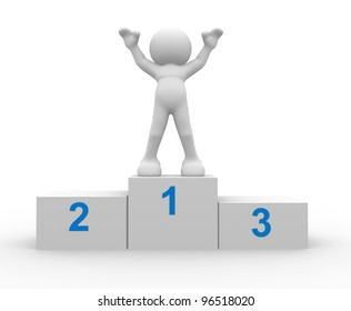 3d people - man, person in a podium winning first place