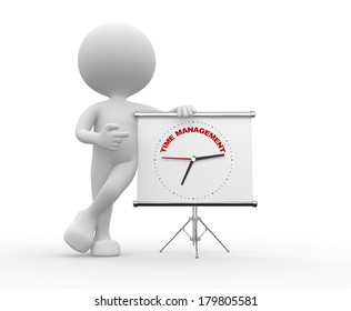 """3d people - man, person  pointing a flipchart with a clock and text """"time to management"""""""