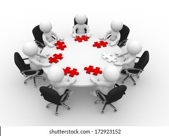 3d people - man, person at a round table and puzzle pieces ( jigsaw)