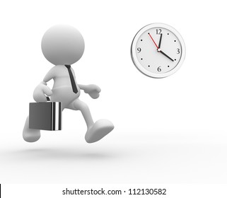 3d people - man,  person running. Businessman and a clock