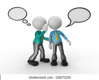 3d people - man, person whispering in his ear to another person. Businessman