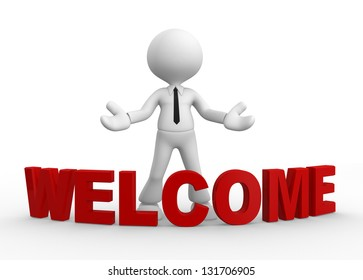 3d people - man, people and word welcome. Welcome gesture