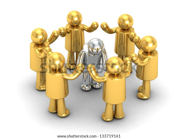 3d people - men in a circle. Leadership and team