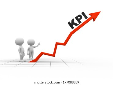3d people - men, person and arrow. KPI ( Key performance indicator)