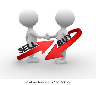 """3d people - men, person with arrowa. Words """"buy"""" and """" sell'"""