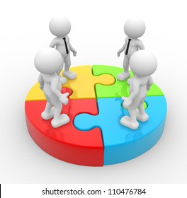3d people - men, person in group and puzzle. Successful business team