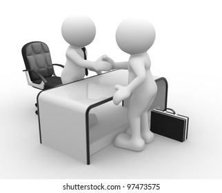 3d people - men, person in an office. Businessmen  who shake hands. Concept of partnership.
