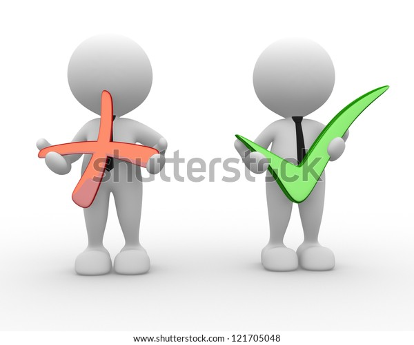 3d people - men, person with positive and negative symbol.